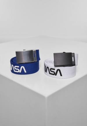 Mr. Tee NASA Belt 2-Pack extra long blue/wht - UNI
