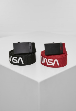 Mr. Tee NASA Belt 2-Pack extra long black/red - UNI