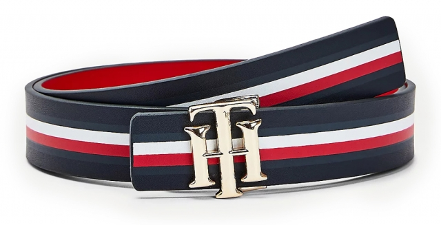 Tommy Hilfiger obojstranný opasok TH Logo Rev 3.0 Desert Sky/Corporate